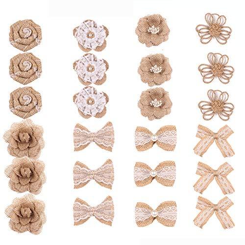 Sackleinen Blumenset, Rustikale Spitze Rose Blume, 24 Stück 8 Stile, für DIY Kunst, Handwerk Valentinstag, Hochzeit, Dekoration und Blumenarbeiten