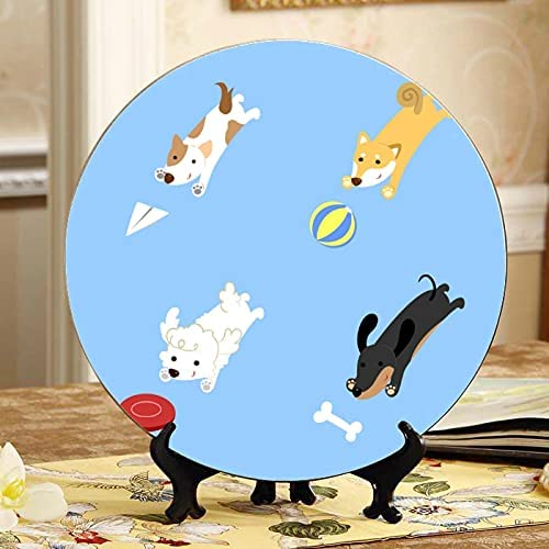 ALALAL Two Labrador Retrievers and Plate Frisbees Super beauty Fashionable product restock quality top Cer Decorative