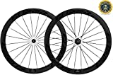Superteam 50mm Clincher Wheelset 700c 23mm Width Cycling Racing Road Carbon Wheel Decal (Black...