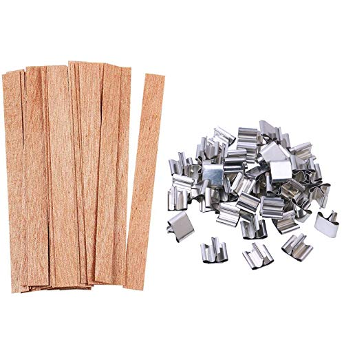 100pcs Wooden Candle Wicks, Candle Making Wicks 5.1 X 0.5 Inch Naturally Smokeless Wooden Candle Wicks Candle Cores with Iron Stand for DIY Candle Making(50 Set)