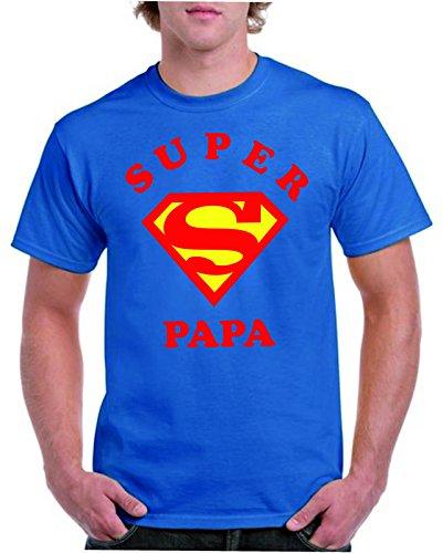 Camisetas divertidas Child Super Papa - para Hombre Camisetas Talla Large Color Azul Royal