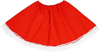 Red Costume Skirt White Lace - Red Riding Hood Mrs. Claus Adult Teen Dress