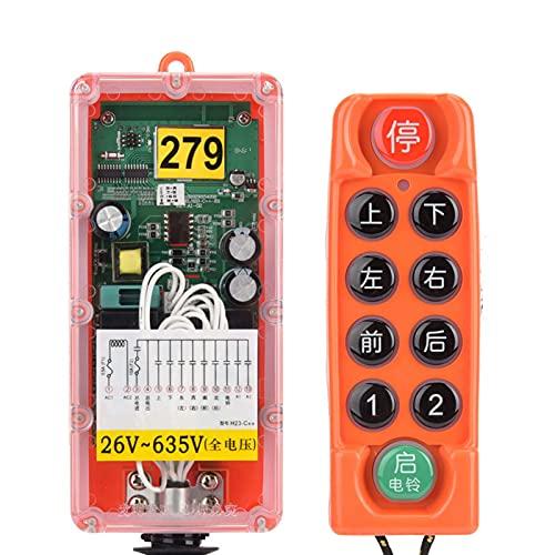 H23-C++ 8 Tasten Kran Wireless Remote Funksteuerung,Hebekran Industrieller DREI-Proofing Wireless Remote Controller Switch mit 400 Kanälen,1 Sender + 1 Empfänger(26-635V)