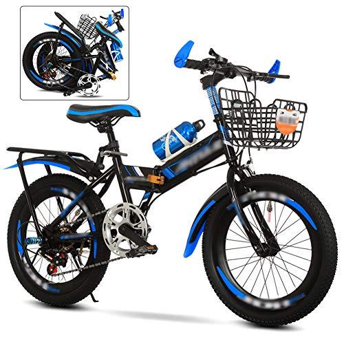 ROYWY Bicicleta MTB Plegable, 6 Velocidades Bici Infantil, 24 Pulgadas, Bicicleta de Montaña para Niños y Niñas, Montar al Aire Libre/Blue / 22''