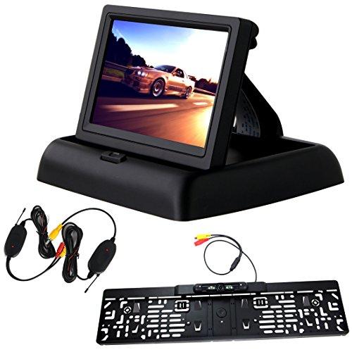 Pathson 4,3 Pouces TFT LCD Moniteur Pliable Voiture Écran Couleur + Caméra de Recul sans Fil avec Européenne Cadre de Plaque d'immatriculation 170° Angle Vision de Nuit Etanche