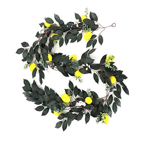 RTWAY - Ghirlanda artificiale di limone, 2 m, con finto limone giallo, piante da appendere per casa e cucina, decorazione da tavolo