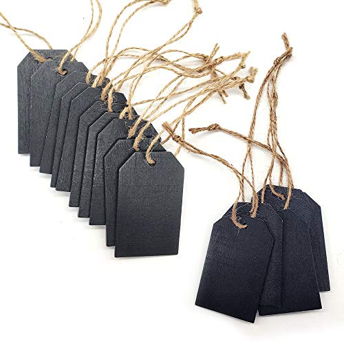 Xloey 40Pcs Chalkboard Tags Hanging Wooden Mini Chalkboard Signs Wooden Chalkboard Tags, Hanging Chalkboard Labels, Ideal Price Tags, Message Tags, Black