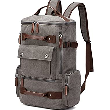 Canvas Backpack, Aidonger Vintage Canvas School Backpack Hiking Travel Rucksack Fits 15'' Laptop (Gray)