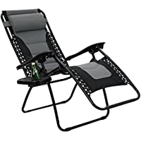 PHI VILLA Padded Zero Gravity Lounge Chair Patio Adjustable Reclining with Cup Holder