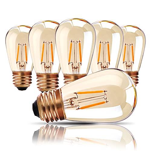 Lampes d'extérieur, ampoule LED à vis E27 Edison, 1W Ampoule de rechange à filament LED pour S14 ST45 LED, blanc chaud 2200K, verre ambré équivalent à 10W, non réglable, paquet de 6