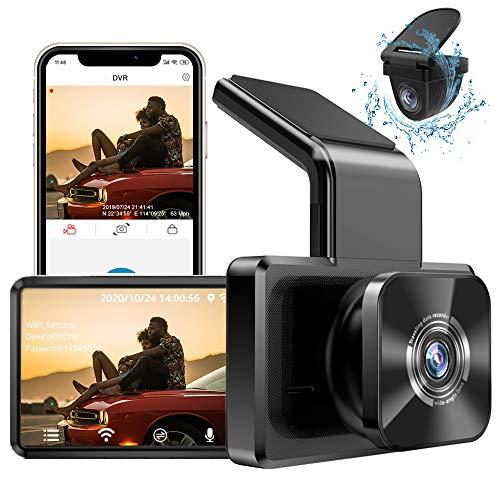 AUTOWOEL Camara para Coche Dash CAM 1080P FHD Doble con WiFi GPS, Dashcam Cámara Delantera y Trasera de Coche Grabadora, Mini Camara vigilancia Grabacion Continua con bateria, Monitor de Aparcamiento