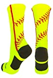 MadSportsStuff Softball Socks with Stitches in Crew Length (Neon Yellow/Red,...