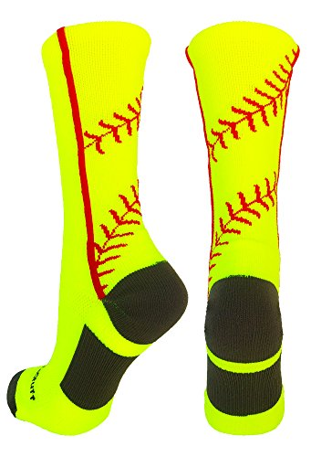 MadSportsStuff Softball Socks with Stitches in Crew Length (Neon Yellow/Red, Large)