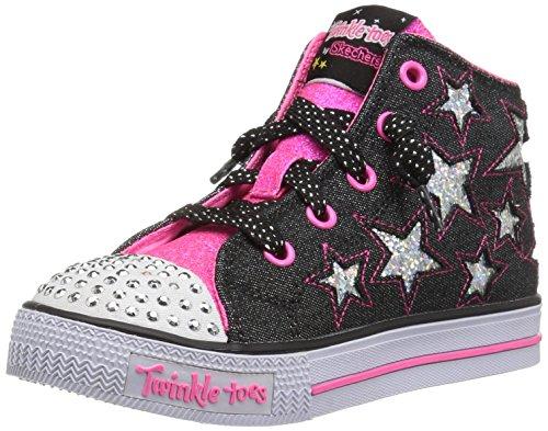 Skechers Mädchen Shuffles - Lil Rockin Stars Ausbilder, Schwarz (Black/neon Pink), 22 EU