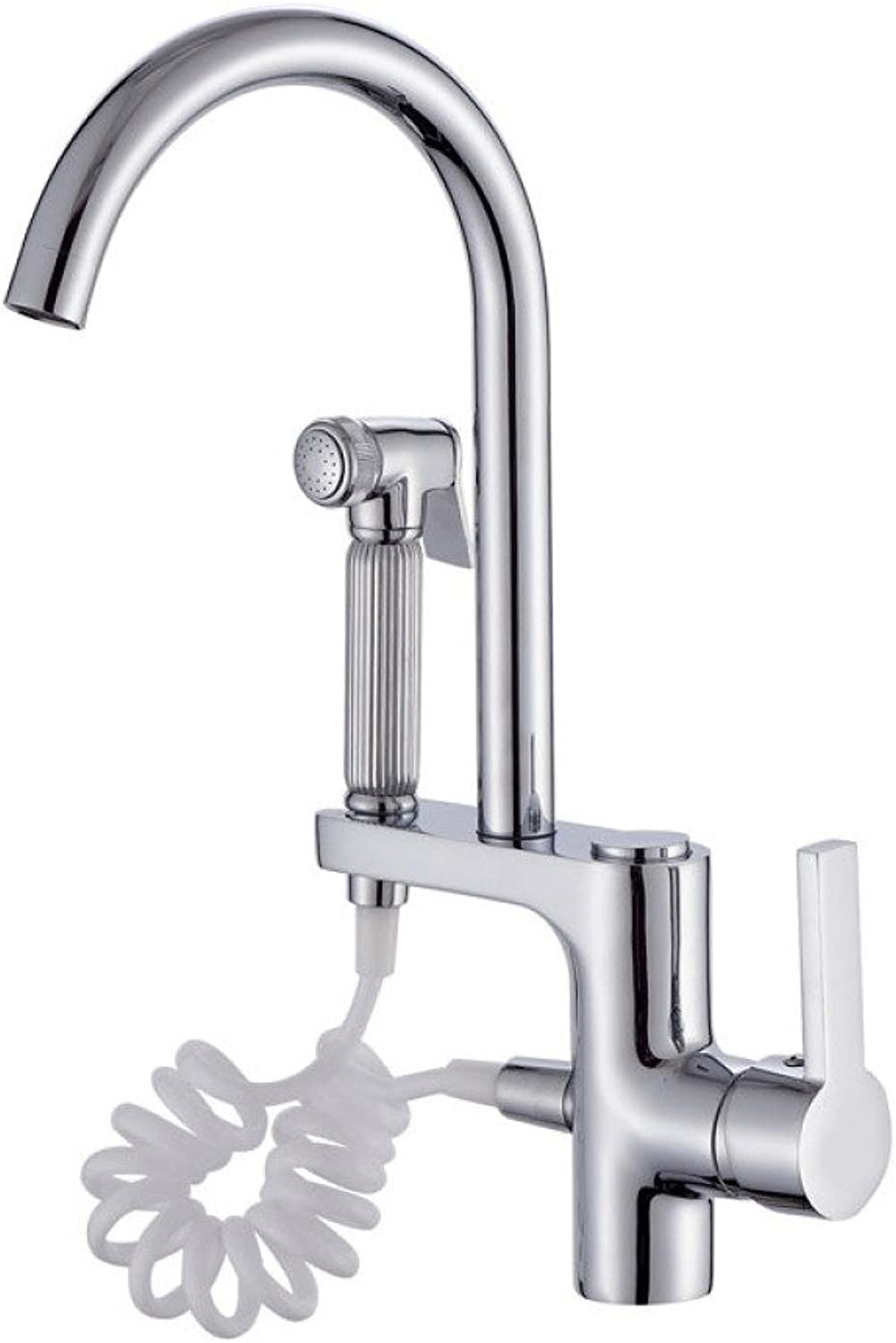 ZXY Copper Plating Withdrawal Sprinkler Faucet Kitchen Hot and Cold Water Multifunction Sink Faucet