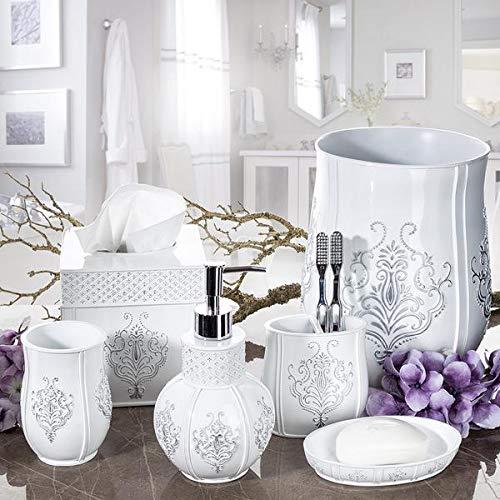 Vintage White Bathroom Accessories Set - 4 Piece Bathroom Set Features Soap Dispenser, Toothbrush Holder, Tumbler & Soap Dish - Bath Gift Set - French Style Design