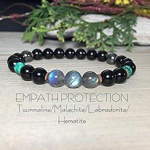 Empath Protection Bracelet | Malachite, Labradorite, Black Tourmaline, Hematite