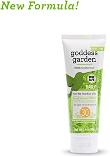 Goddess Garden - Daily SPF 30 Mineral Sunscreen Lotion - Sensitive Skin, Reef Safe, Sheer Zinc, Broad Spectrum, Water Resistant, Non-Nano, Vegan, Leaping Bunny Cruelty-Free - Travel Size 3.4 oz Tube