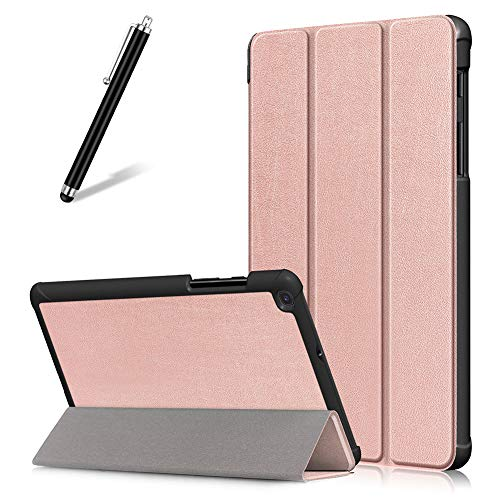 Artfeel Custodia per Samsung Galaxy Tab A 8.0 2019 T290 T295,Sottile Leggero Pelle Cover Pieghevole Supporto Regolabile Multi-Anglo Caso Slim Flip Folio Tablet Copertura,Oro Rosa
