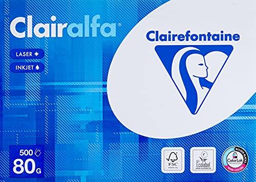 Clairefontaine 1979C Clairalfa blickdichtes Druckerpapier (1 Ries mit 500 Blatt, DIN A4, 21 x 29,7 cm, 80 g, ideal für alltägliche Kopien und Ausdrucke) weiß