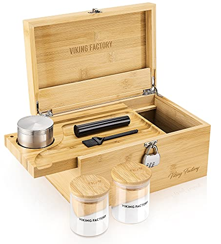 Stash Box Combo Kit, Advanced Bamboo Storage Box Set/with Herbal Grinder, Stash Jar, Rolling Tray and Bamboo Box with Key, Can Lock and Store All Original Needs. (Alloy Anti-rust Hinge)