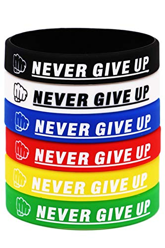 Never GIVE UP Motivational Rubber Bracelets Inspirational Silicone Wristbands for Adults and Teenagers, Used in School, Company, Groups and Teams as Party Favors and Incentive Awards