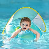 Free Swimming Baby Inflatable Baby Swimming Float with Bottom Support and Retractable Fabric Canopy for Safer Swims(Yellow, Large)
