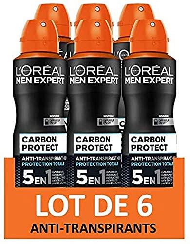 L'Oréal Men Expert - Carbon Protect Ice Fresh Déodorant Homme Spray 5-en-1 - Lot de 6