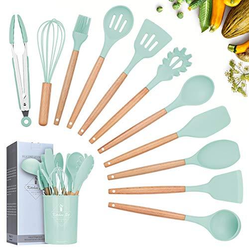 Lychee Utensili Cucina Set,12 Pezzi Set di Utensili da Cucina in Silicone,Resistente al Calore con Manico Legno Antiaderenti da Cucina Strumento di Cottura Termoresistenti (Verde Chiaro)