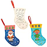 Baker Ross Calcetines Navideños de Tela para Colorear (Pack de 4) - Artes y manualidades festivas