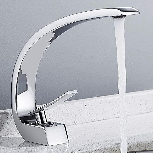 Grifo de Lavabo Grifo de Baño para Lavabo Grifo Mezclador Blanco Mezclador Monomando Doble Control en Latón Anticorrosión para Baño Inodoro Agua Fría y Caliente (Cromo)