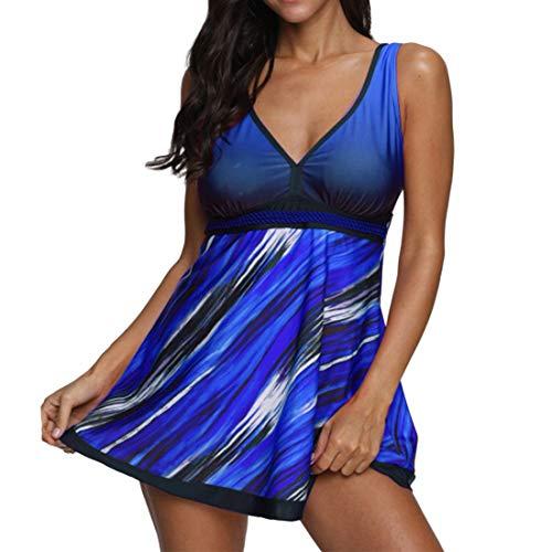 Chunmei Damen Einteiliger Badeanzug Neckholder V-Ausschinitt Baderock Raffung Bauchweg elegant Bademode Schwimmrock mit Shorts Strandkleid Einfaches attraktives Strandmode Hawaii Strand B-Blue 3XL