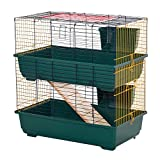 PawHut Indoor Rabbit Guinea Pig Cage Small Animal Cage Two Storey 80 x 44 x 82 cm