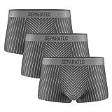 Separatec Slip Boxer Uomo Morbido Cotone con Tasche Separate Intimo Boxer 3 Pezzi Pantaloncini Eleganti a Righe (XL, Grigio)