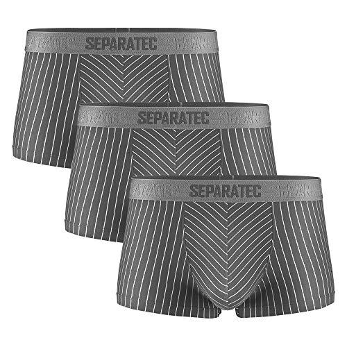Separatec Herren Boxershorts atmungsaktive Männer Unterhose Trunks mit Eingriff Separate Beutel, 3er Pack (M, Kurze Beine: Grau)
