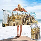 KIMIOE Toalla de Playa de Microfibra Grande Big Gothic Building Sea Shore Cathedral of Palma De Mallorca View from Road,Fast Drying Beach Travel Camping Towel