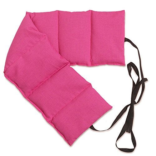 Kirschkernkissen 7-Kammer mit Band, 65x15 pink. Wärmekissen Rücken, Körnerkissen