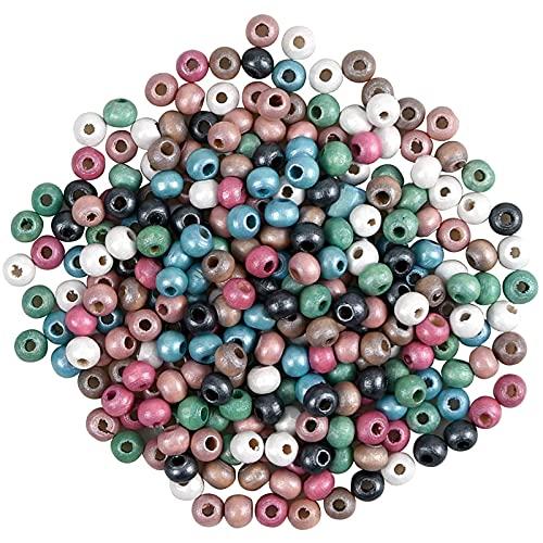 Cuentas Artesanales Redondas de 8 Mm Cuentas de Madera Colores para Pulseras Redondas Abalorios de Madera Abalorios Madera Natural Adecuado para Joyería Manualidades Collares Pulseras 1200 Piezas