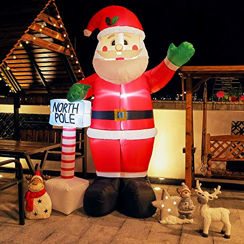 TOLEAD 240cm Aufblasbarer Weihnachtsmann Santa Claus mit internen LED-Leuchten für drinnen und draußen, Rasen-/Garten-/Gartendekorationen, rot