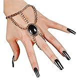 Widmann 7135H - Finger-Armband Gothic, mit ovalem Schmuckstein, Armkette, Metalliclook, Accessoire, Kostüm, Halloween, Hexe