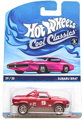 HOT WHEELS COOL CLASSICS RED SUBARU BRAT WITH PICTURE OF PINK CAR ON PACKAGE