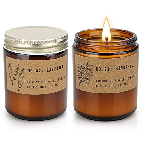 TOFU Velas perfumadas, cera de soja con aceites esenciales, regalo para mujer (2 unidades, lavanda y musgo ámbar)