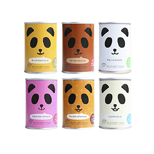 Gift box Japanese Cute Panda Canned Bread Set of 6 DIfferent Tastes (Long-term Storage)