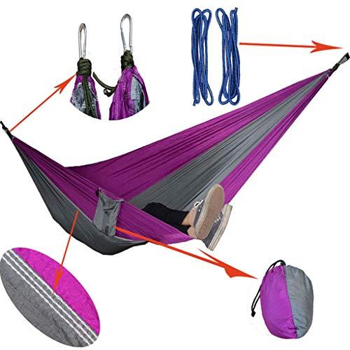 TOPCOMWW Hangmat, outdoor, enkele dubbele vrijetijds- parachutestof, hangmat, indoor schommel, slaapkamer, superdragende rugzak, wandelen, camping, reistrand