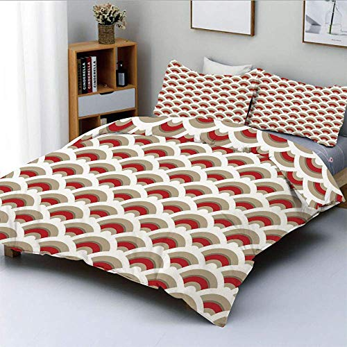 Juego de funda nórdica, patrón de vieira oriental inspirado en el diseño de arte árabe tradicional marroquí Juego de cama decorativo de 3 piezas con 2 fundas de almohada, rojo tostado blanco, el mejor