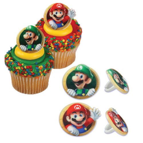 24 Super Mario Cupcake Ring Party Favor Decorations by Bakery Crafts
