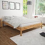Fesjoy Cadre de lit Cadre de lit en Bois de chêne Massif Lit Double Fit 140 x 200 cm Matelas Base de lit avec...