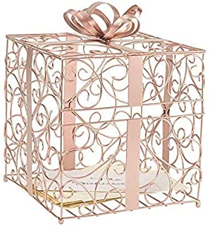 Cathy's Concepts Reception Gift Card Holder – Rose Gold, Metal Construction, Glitter Accents, Perfect for Weddings, Graduations & More