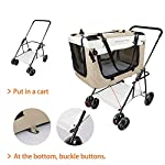 Display4top Pet Travel Stroller Dog Cat Pushchair Pram Jogger Buggy w/Locking Zippers Plush Nap Pillow 2X Interior Room Airy Windows Sunroof Reduces Anxiety 14