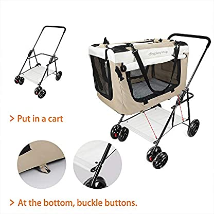 Display4top Pet Travel Stroller Dog Cat Pushchair Pram Jogger Buggy w/Locking Zippers Plush Nap Pillow 2X Interior Room Airy Windows Sunroof Reduces Anxiety 5